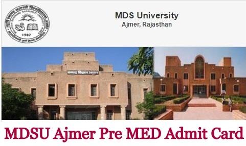 MDSU Ajmer Pre MED Admit Card