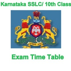 Karnataka SSLC 10th Class Time Table