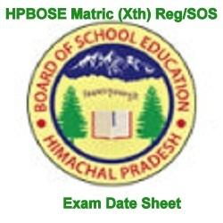 HPBOSE March Matric Exam Date Sheet