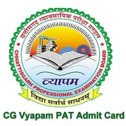 CG (Chhattisgarh) PAT Admit Card