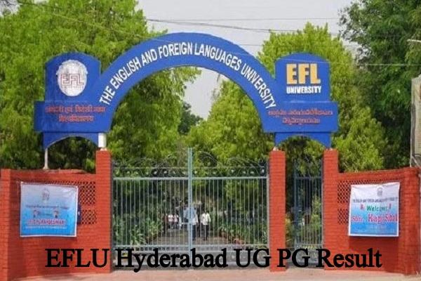 EFLU Hyderabad UG PG Result