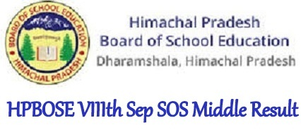 HPBOSE VIIIth Sep SOS Middle Result