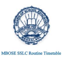MBOSE SSLC Routine 2022