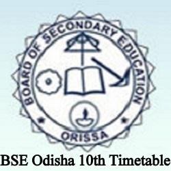 BSE Odisha 10th Time table 2022