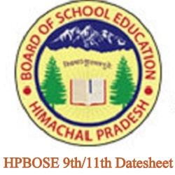HPBOSE 9th/11th Date Sheet 2021