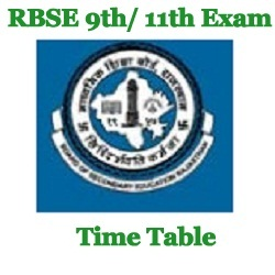 RBSE 9th Exam Time Table 2021