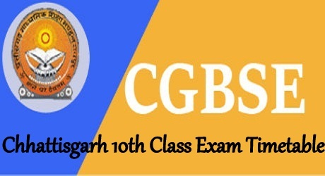 CGBSE 10th Time Table 2022