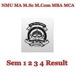 NMU MA M.Sc M.Com MBA MCA Sem 1 2 3 4 Result
