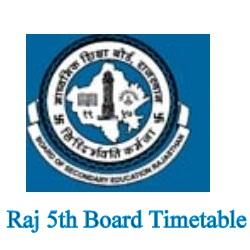 Raj 5th Board Time table 2021