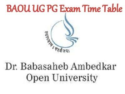 BAOU UG PG Exam Time Table