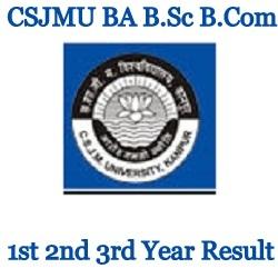 CSJMU BA B.Sc B.Com 1st 2nd 3rd Year Result 2021