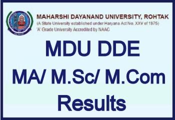 MDU DDE MA M.Sc M.Com Result 2020