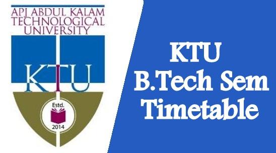 KTU B.Tech Exam Time Table 2021