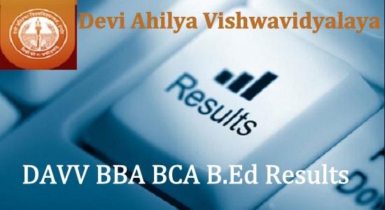 DAVV BBA BCA B.Ed Result