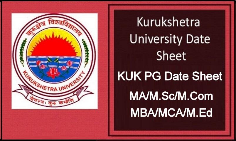 KUK PG 1st 3rd Sem Date Sheet