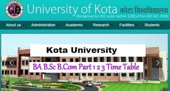 Kota University Time Table 2021