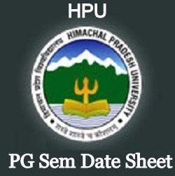 HPU PG Sem Date Sheet