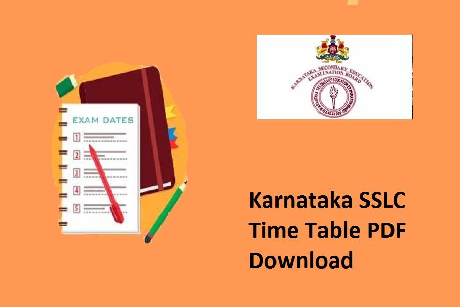 Karnataka SSLC Time Table 2022