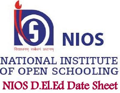 NIOS D.El.Ed Date Sheet 2021