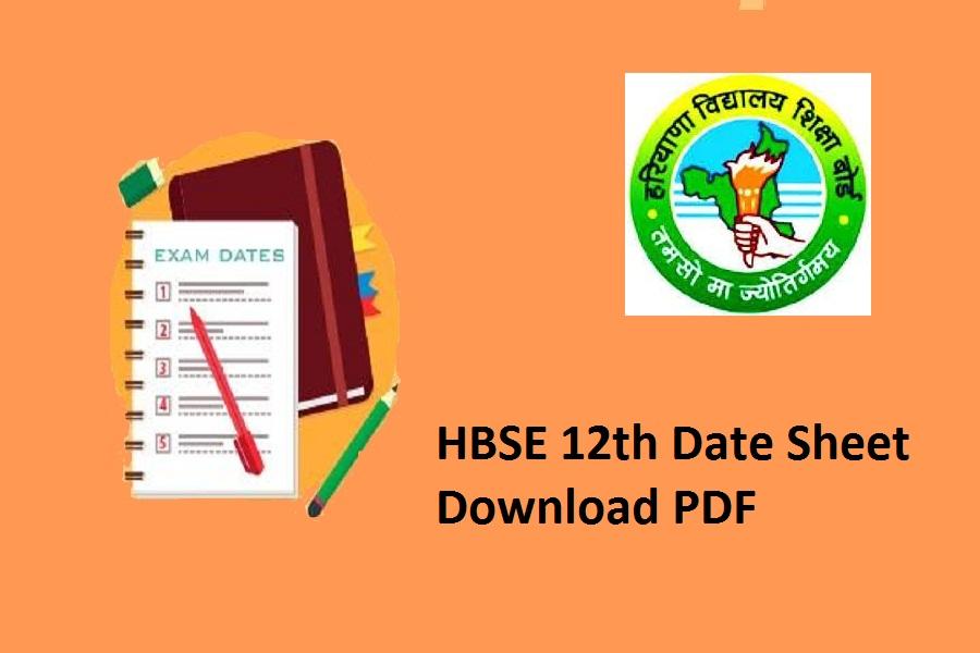 HBSE 12th Date Sheet 2021