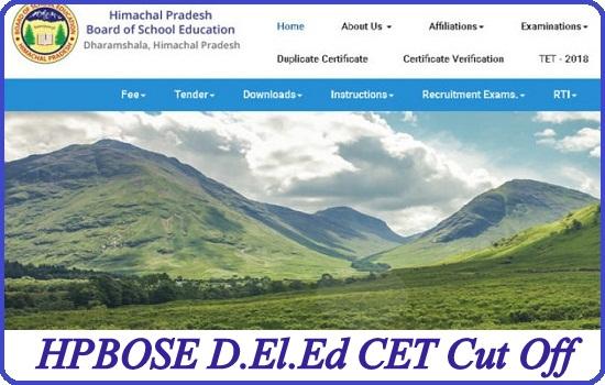 HPBOSE D.El.Ed CET Cut Off 2020