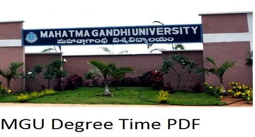 MG University Degree Time Table 2021