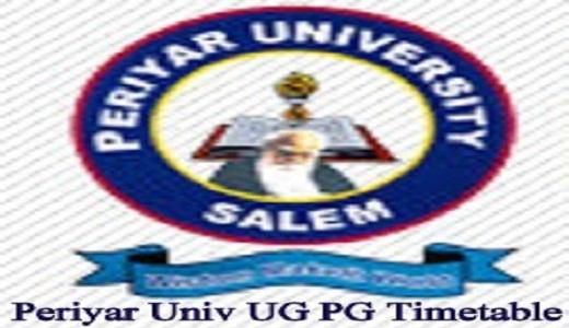 Periyar University Time Table 2019