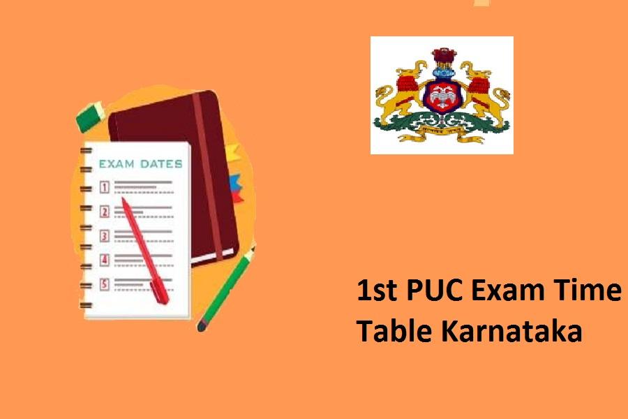 1st PUC Time Table 2022 Karnataka