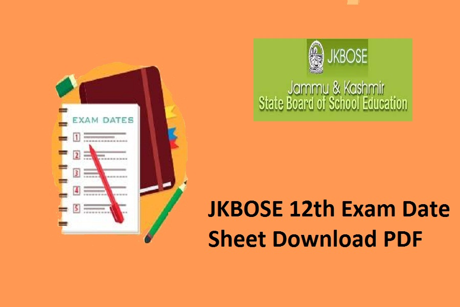 JKBOSE 12th Date Sheet 2022