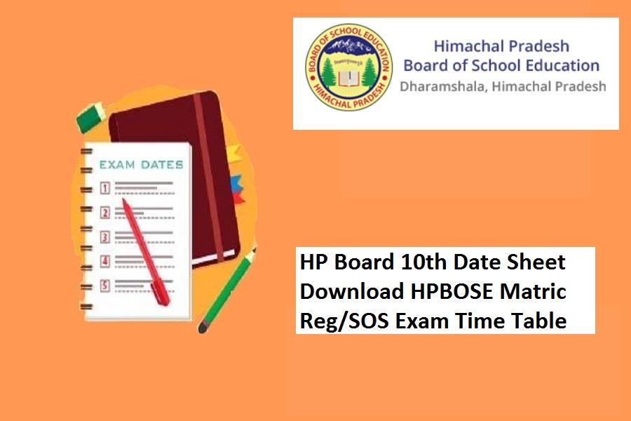 HP Board 10th Date Sheet 2022