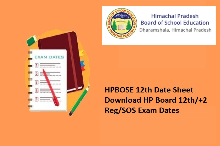 HPBOSE 12th Date Sheet 2022