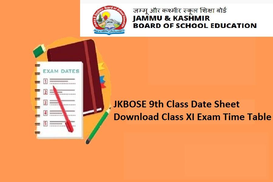jkbose 9th & 11th class date sheet 2022